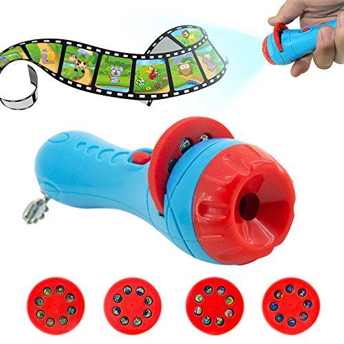 Bulary Kinder Projektion Taschenlampe, Taschenlampe Projektor Spielzeug Baby schlafen Betten Story Spielzeug Kind ¡fördern S Märchen Slide Home Theater für Kinder Kinder Kleinkind blau