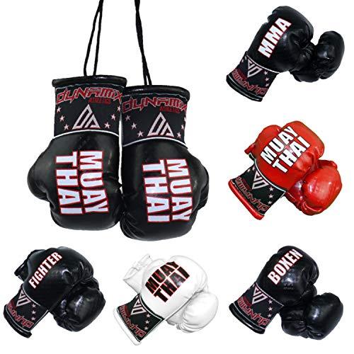 Dynamix Athletics Autospiegel Mini Boxhandschuhe - Boxhandschuhe fürs Auto Spiegelanhänger Spiegel Aufhänger PKW Innenspiegel - 4 Varianten Boxen MMA Muay Thai Fighter (MMA - Schwarz)