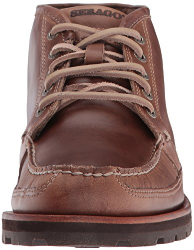 Sebago Mens Vershire Chukka Ankle Bootie Dark Taupe Oiled Waxy Leather