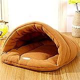 elvnx Haustierbett für kleine Hunde und Katzen, aus Polarfleece, Schlafsack, 1, M 45x40cm