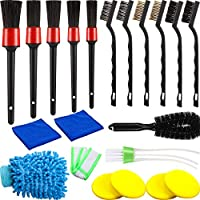 20 Pieces Detailing Brush Car Cleaner Brush Set, Detail Brush, Wire Brush, Tire Brush, Automotive Air Conditioner Cleaner and Foam Cleaning Pads for Cleaning Car Motorcycle Interior, Exterior, Dashboa