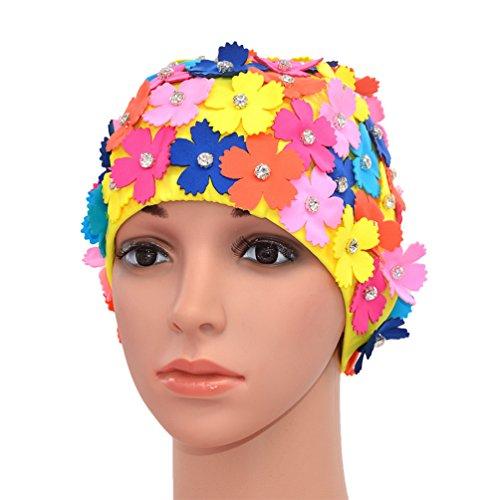 Medifier Handbuch Strass Floral Blütenblatt Retro Stil Schwimmen Gap Badekappen für Frauen Mix Farbe