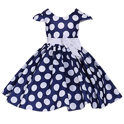 squarex  Mädchen Blume Dot Bow Kleid Kinder Prinzessin Rock Baby Party Kleid Leistung Formale Tutu Kleid Mädchen fliegen Ärmel Rock