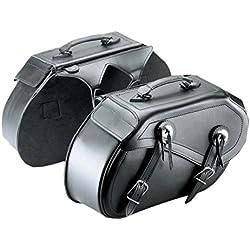 Cruizer bor-2099par Bolsos de Piel Moto Laterales universales, Custom Guzzi Harley Davidson bisacce, Negro, 42x 25x 15cm