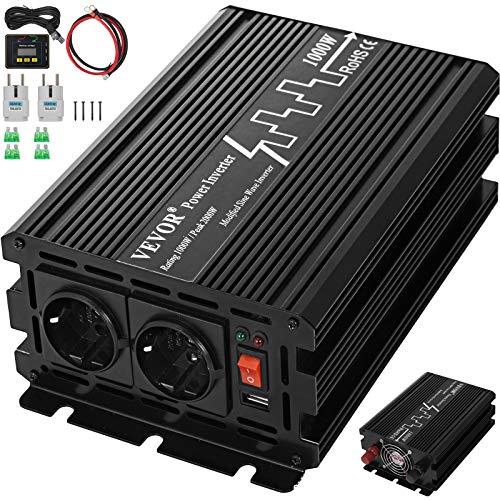Mophorn Reine Sinus Wechselrichter 1000 Watt 24V DC Zu 230V AC Wandler Mit Fernbedienung für RV LKW Auto (1000W 24V)