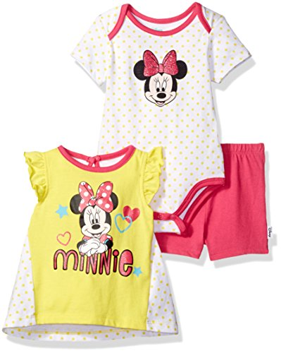 Disney Baby Girls' Minnie Mouse 3-Pack Top, Bodysuit and Short Set, Aurora, 24m - Screen Print Shorts