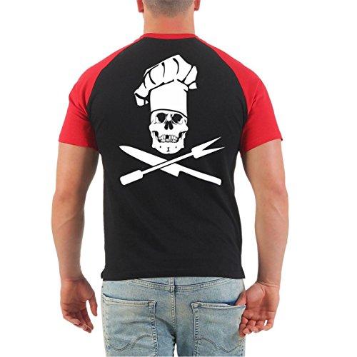 Männer und Herren T-Shirt Smutje - schmecken lassen (mit Rückendruck) Schwarz/Rot