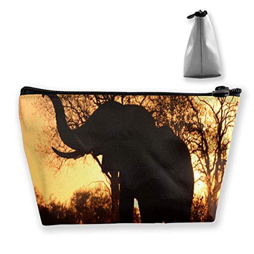 Elefante africano Kissen Toiletry Organizador Monedero Trapezoide grande Bolsa de cosméticos Cierre de cremallera