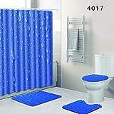 SLGJYY Wassertropfen Badezimmer Duschvorhang Bodenmatte WC Sitzmatte Vierteilig