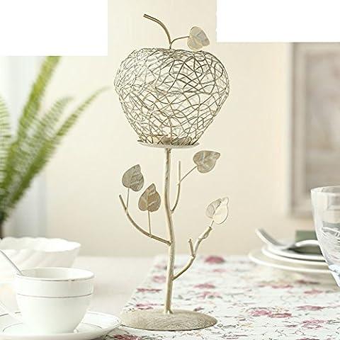 Portacandele in ferro battuto creativo europeo/Supporto di candela di pennello Golden Apple/Vigilia di natale candela cena romantica a lume di candela- L