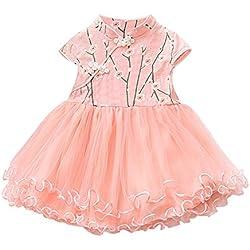 Vestidos Niñas SUNNSEAN Cheongsam del Estilo Nacional Bordado de Flores Falda de Tul Dobladillo de Volantes Faldas con Vuelo para Desfile de Moda Vestidos de Fiestas