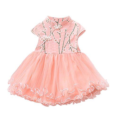 Amphia - Kinder kurzärmelige Blumenstickerei ethnischen Wind Mesh Kleid Prinzessin Kleid - Nette Baby-Prinzessin Floral Tutu Birthday Party Hochzeit Prinzessin Dress