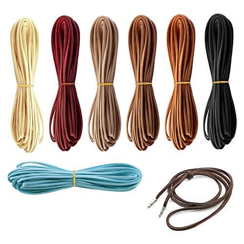 3 mm x 6m 7 Colori Cordoncino in Pelle per Bracciale Collana Perline Gioielli Artigianato Fatto a Mano Fai da Te - 7 Pezzi