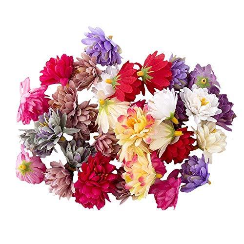 Ideen mit Herz Deko-Blüten, Kunstblumen, Blüten-Köpfe, Verschiedene Sorten, ca. Ø 4-5 cm (Chrysanthemen - bunt - 14g)