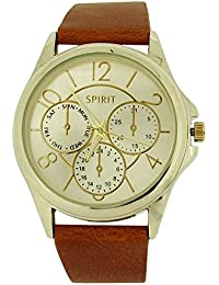Spirit Ladies Analogue Gold Dial Chrono Effect Tan PU Casual Strap Watch ASPL61