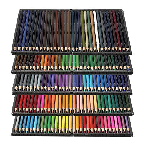 Kit di 160 Matite Colorate Pastelli Acquerellabili per Design Arte dai Colori Vivaci per Adulti e Bambini con Scatola Trasparente