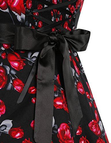 Dresstells Version3.0 Vintage 1950's Audrey Hepburn pin-up robe de soirée cocktail style halter années 50 à pois Noir à rose