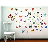 DECOR Kafe Home Decor Butterfly Wall Sticker, Wall Sticker For Bedroom, Wall Art, Wall Poster (PVC Vinyl, 73 X 71 CM)