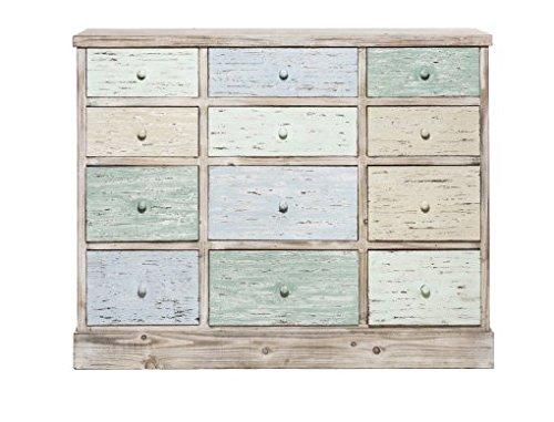 Cassettiera country in legno stile vintage con cassetti color pastello L'ARTE DI NACCHI VZ-82