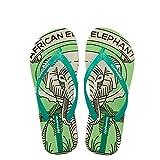 Hotmarzz Damen Mode Sommer Strand Hausschuhe Elefant Tier Flach Zehentrenner Sandalen Rutschen Spa Dusche Zuhause Schuhe Size 34 EU/35 CN, Grün