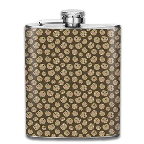 Kawaii Cookie Pocket Leak Proof Liquor Hip Flask Alcohol Flagon 304 Stainless Steel 7OZ Gift Box Outdoor Steel Bar Cookies