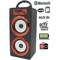 Genius Factory® Altavoz Portátil Bluetooth Audio Playeral funcion de Radio FM, Lector tarjetas SD, entrada USB, control de volumen, Line-in, con luces LED (Gema Rojo)