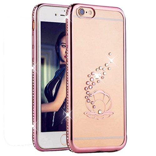 Ouneed® Kristall Diamant Überzug Klar Gummi weicher TPU Hülle Schutzhülle für iPhone 6 / 6S Case Cover (C) A