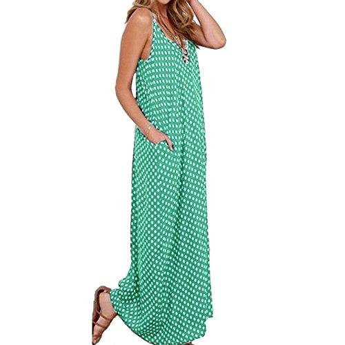 Romacci Frauen-Kleid-Polka-Punkt-Druck mit V-Ausschnitt ärmel lose Maxi langes Kleid Lässige Vintage-One-Piece Grün