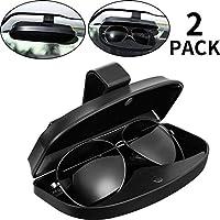 عبوة من 2 قطعة حامل نظارات السيارة، حامل نظارات ABS عالمي للسيارات، مشبك واقٍ للنظارات بهيكل صلب تخزين منظم مع إغلاق مغناطيسي، 2 فتحة لبطاقة الائتمان (أسود)