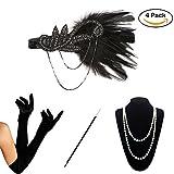 KQueenStar 1920s Damen Accessoires Set Haarschmuck Halskette Handschuhe Zigarettenhalter Stirnband 20er Jahre 1920s Charleston Gatsby Retro Stil Kostüm Ball (4PCS-B)