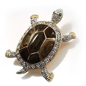 Broche tortue émail cristal porte bonheur (or et olive)