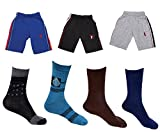 Indistar Boys Combo Pack (Pack of 3 Boys Cotton Bermuda/Shorts and 4 Cotton Shocks)-Multi Color-11-12 Years
