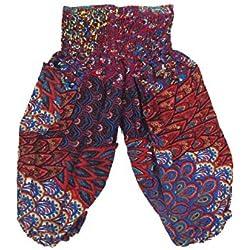 Lofbaz Niños Pantalones Harem Gypsy patrón del Peacock Hippy Rojo & Azul Talla 2T