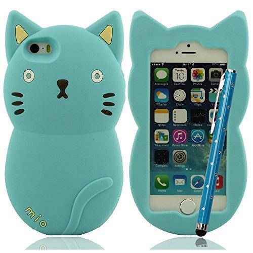 Mio Mio süß Katze Hülle für iPhone 5 5S 5C 5G Silikon Hülle gel case Kollision Absorption Anti-Scratches + Bling Stylus Pen Cyan
