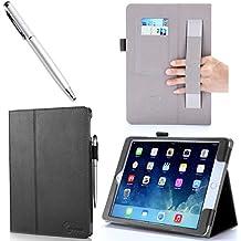 i-Blason - Funda para iPad Air, función de suspensión, piel sintética, correa de sujeción, flexible, tarjetero, lápiz capacitivo, varios colores negro iPad Air (5th Generation)