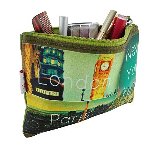 Damen Kosmetiktasche mit New York, London & Paris Kunst-Druck | Schutzpolsterung für Glasflacons | Schminktasche für Unterwegs & Reisen zur Aufbewahrung in der Handtasche | Kulturbeutel abwaschbar (Croco Handtasche Fashion Print)
