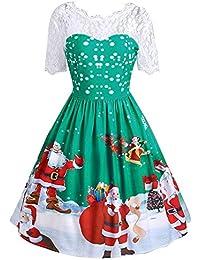 0b91141c6baa HUAIX Home Moda Donna Merry Christmas Vintage Babbo Natale Stampa Pizzo  Sera Vestito da Partito Midi
