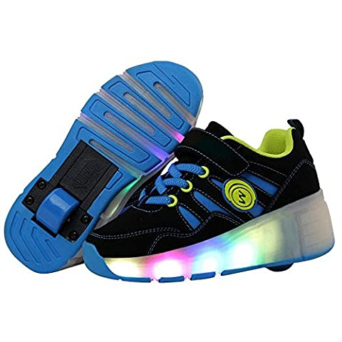 QOUJEILY roller trainers Led Light Up Wheels Shoes For Kid Christmas Gift (11.5UK/30EU, Blue)