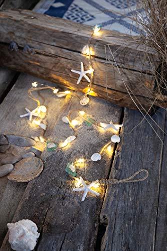 """LED Lichterkette\""""Ocean\"""" mit 20 warmweißen LED\'s und Muscheln & Seesternen"""