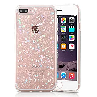 XY-shell iPhone 8Plus Case, iPhone 7Plus Cases, Glitter Clear Shockproof Bling Sparkle Crystal Star Pattern Slim Soft TPU Cover Bumper Case for iPhone 7 Plus/ 8 Plus (5.5 Inch)-Transparent