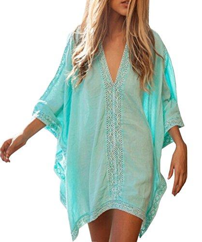 Damen Mode Tief V-Ausschnitt Bikini Cover Up Lässig Strandkleid 1/2 Ärmel Strandtuch Strandponcho Blaugrün