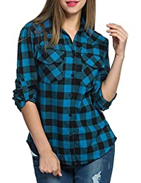 755ef3a3018e Meaneor Women Roll up Sleeve Split V-Neck Plaid Long Shirts Loose Casual  Tops