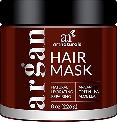 ArtNaturals Argan Oil Hair Mask - Deep Conditioner - 100% Organic Jojoba, Aloe Vera and Keratin - Helps Repair Dry, Damaged or Color Treated Hair after Shampoo - for All Hair Types - Sulfate Free - 236
