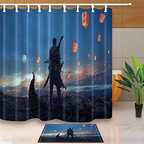 ge Cool Japanische Ninja verstecktem Warrior Sky Laterne 180x 180cm Polyester-Schimmelresistent-Dusche Vorhang Set mit 60x 40cm Flanell rutschfeste Boden Fußmatte Bad Teppiche ()