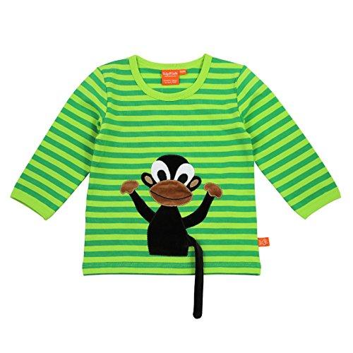 LIPFISH Jungen T-Shirt Langarm Grün Gestreift Affe 3-D BioBaumwolle - Größe: 110 Gestreiftes Shirt Affe