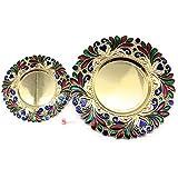 Satyam Kraft Diwali/Rakshabandhan Collection(Pack Of 2)small & Big Size Designer Pooja Thali Traditional Metallic Finished Pooja Thali With Diya For Diwali/Diwali Pooja/Diwali Decor- 25 Cm, 16 Cm Diameter