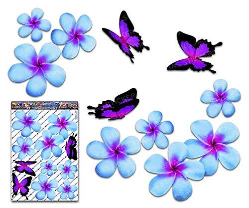 Frangipani Plumeria groß blaue Doppel Blume + Schmetterling Tier Pack Auto Aufkleber - ST00024BL_LGE - JAS Aufkleber