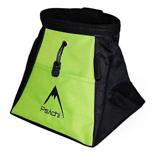 Psychi Kreidebeutel zum Bouldern und Klettern mit Reißverschlussfächern vorne und hinten, grün -