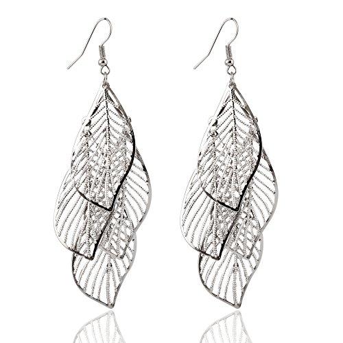 Quatre feuilles–Boucles d'Oreilles Femme–Pendantes Fashion femmes Fashion Soirée avec longue Multi couche Dangle Feuille Or Argent Noir Cadeau–dojore Silver