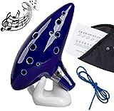 Ocarina,MUYOS 12 Trous Céramique Alto C Legend of Zelda Ocarina Flûte Instrument Bleu avec Sac de Protection
